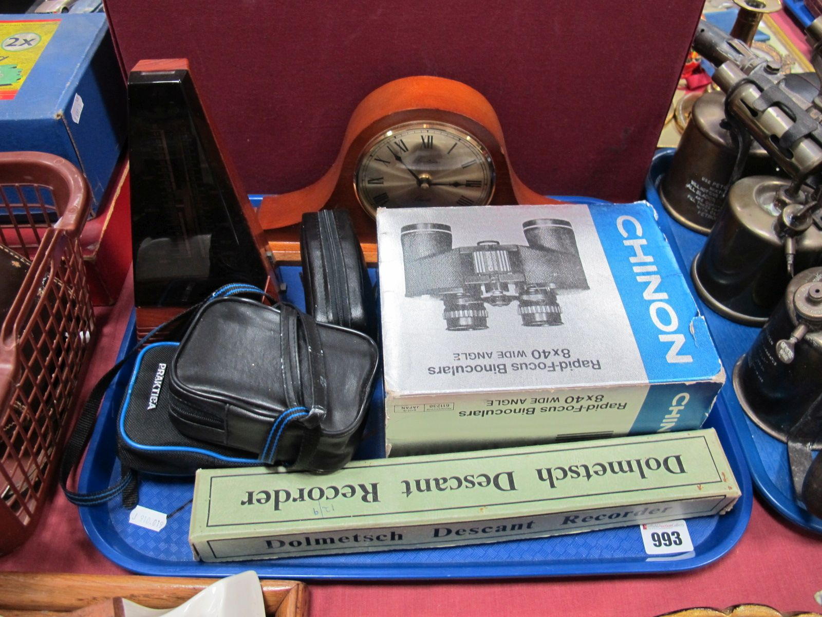 Lot 993 - Chinon 8 x 40 Binoculars, metronome, Dolmetsch recorder, cameras, etc:- One Tray