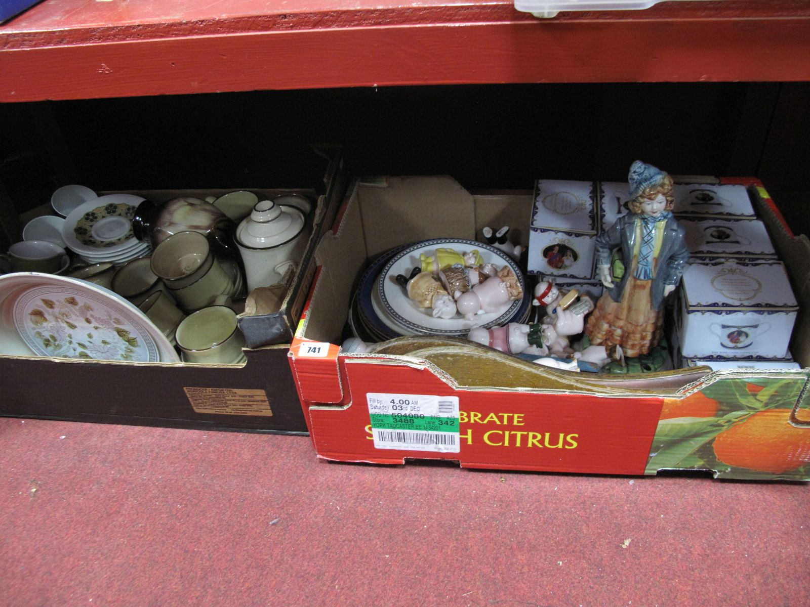 Lot 741 - A Quantity of Ceramic 'Piggies', royal wedding mugs, Denby, Doulton and other pottery, etc:- Two