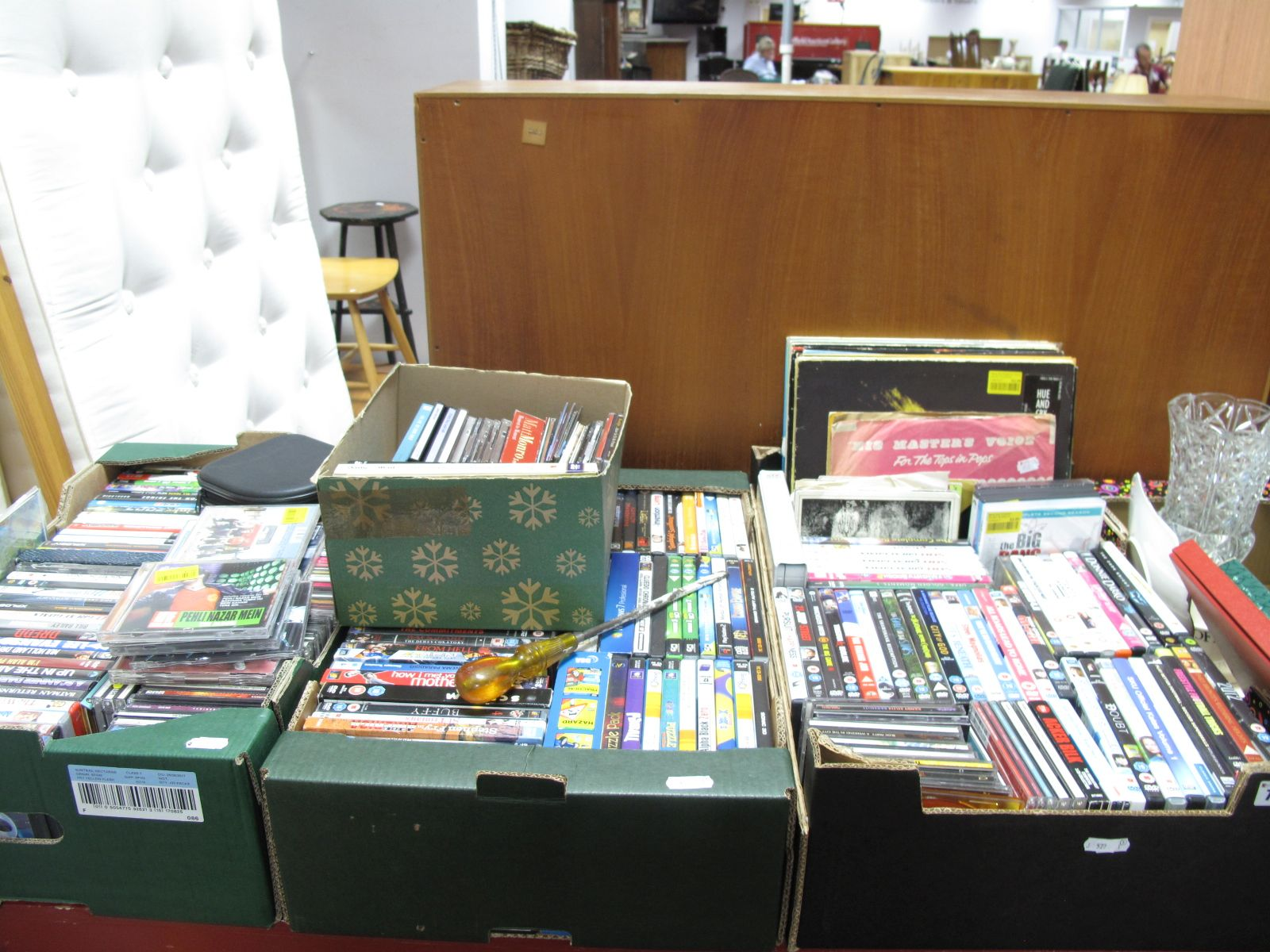 Lot 756 - A Quantity of DVD's, CD's (many modern titles noted) LP's, 45RPM's, etc:- Three Boxes