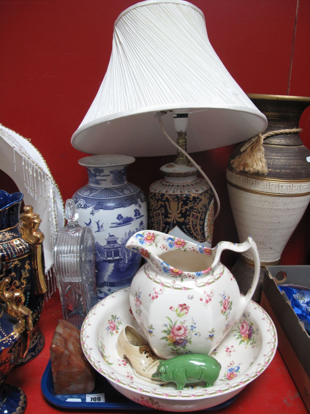 Lot 709 - A Modern Pottery Toilet Jug and Bowl, Willow pattern ovoid vase, lead crystal mantel clock,