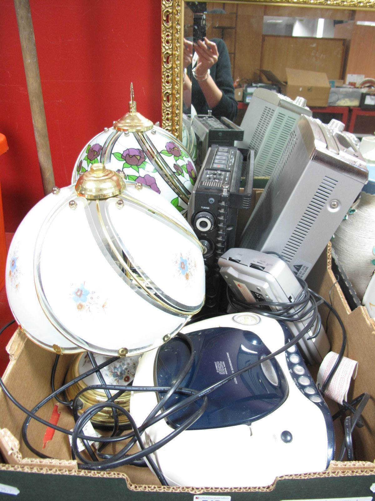 Lot 713 - Denon CD Receiver RCD-M33, Philips compact disc, table lamps, etc:- One Box