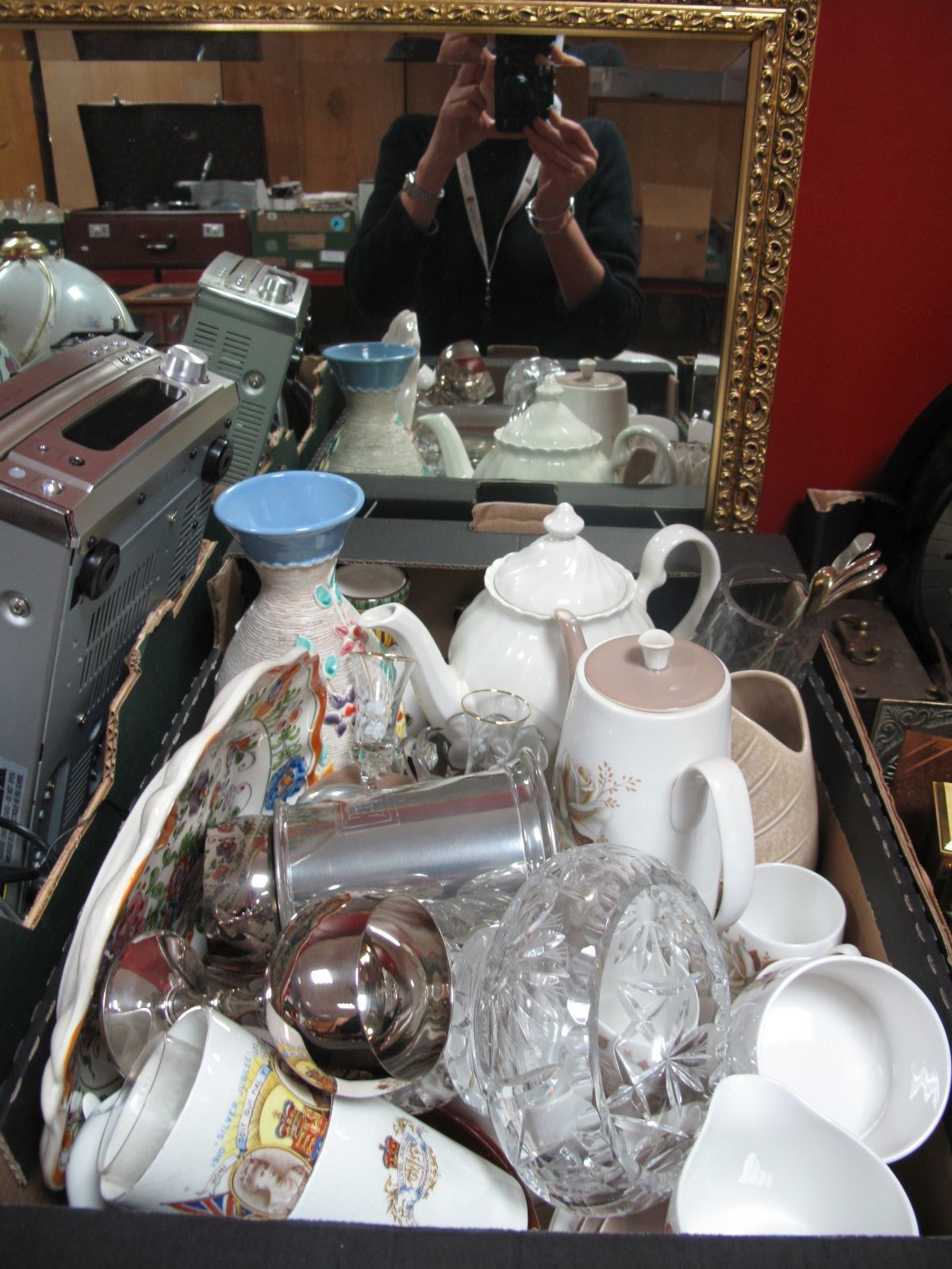 Lot 714 - A Queen Anne Coffee Service, Sylvac, Poole, other ceramics, glassware, plated, etc:- One Box plus