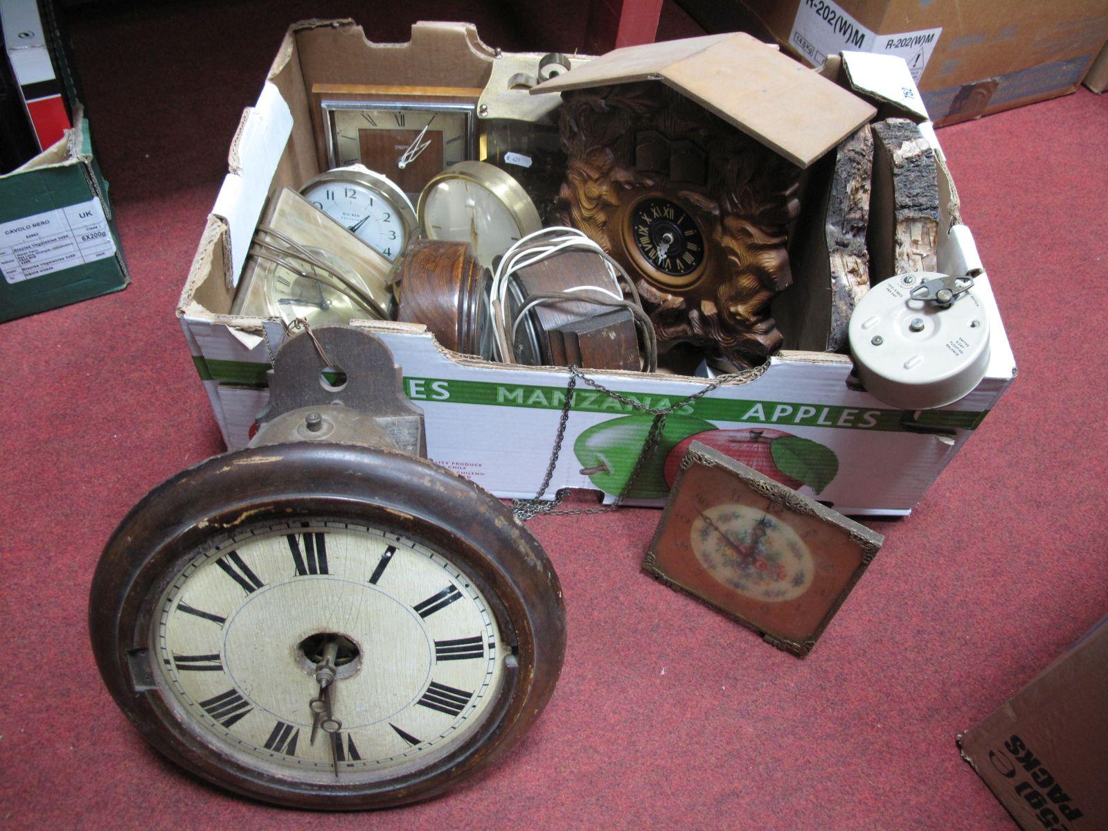 Lot 752 - A XIX Century Clock Dial, 1920's mantel clock, cuckoo clock, etc:- One Box