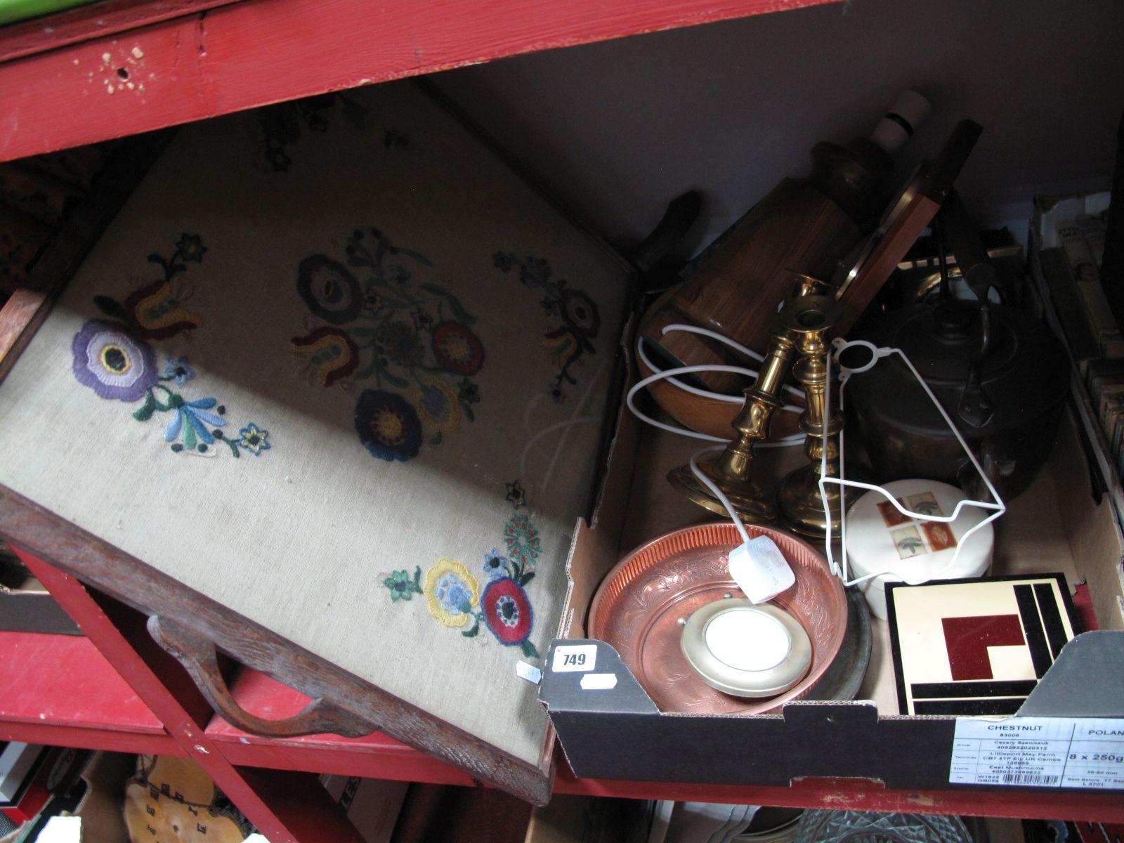 Lot 749 - A XIX Century Copper Kettle, brass candlesticks, etc:- One Box - a Hugo O'Carroll copper plaque,
