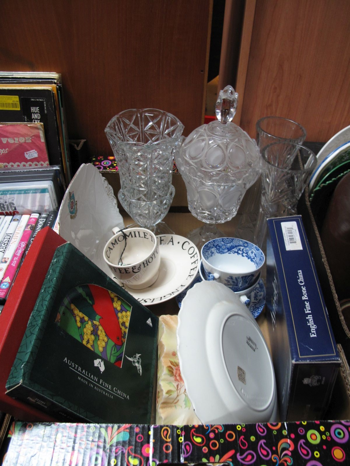 Lot 757 - Aynsley, Spode and other glassware, cheese dish, etc:- One Box