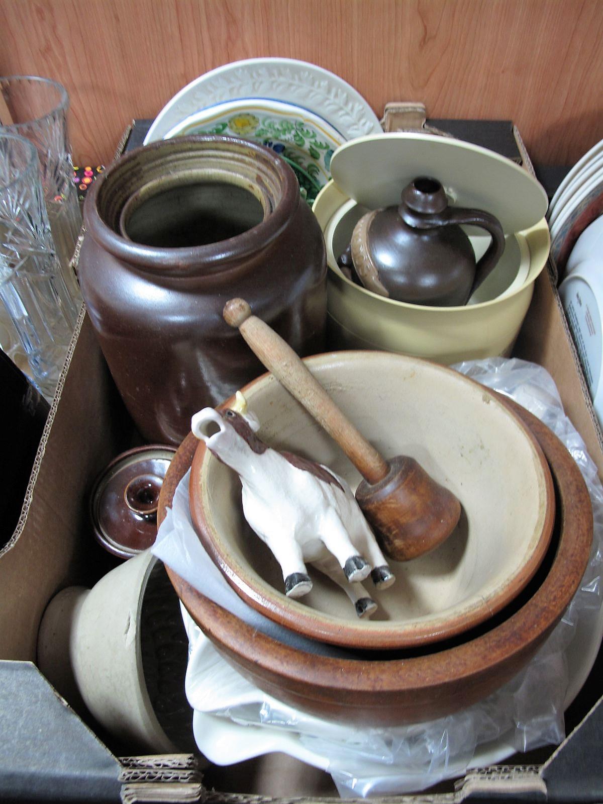 Lot 758 - A Salt Glaze Jar, sycamore bowl, punch, stoneware jelly mould, kitchenalia:- One Box