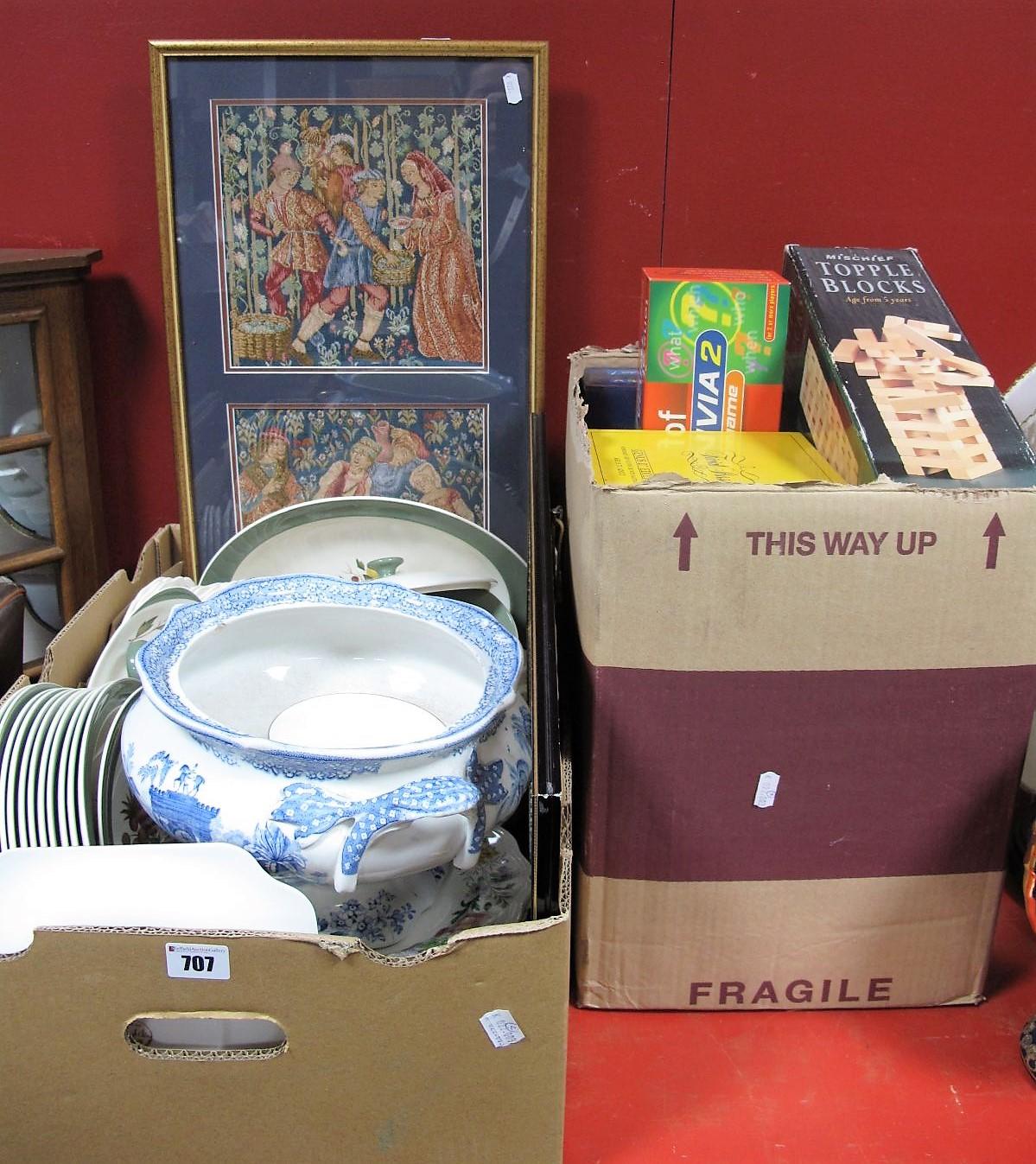 Lot 707 - Doulton 'Stratford' Wedgewood 'Covent Garden' Dinnerware, tureen, games, sampler, needlework,