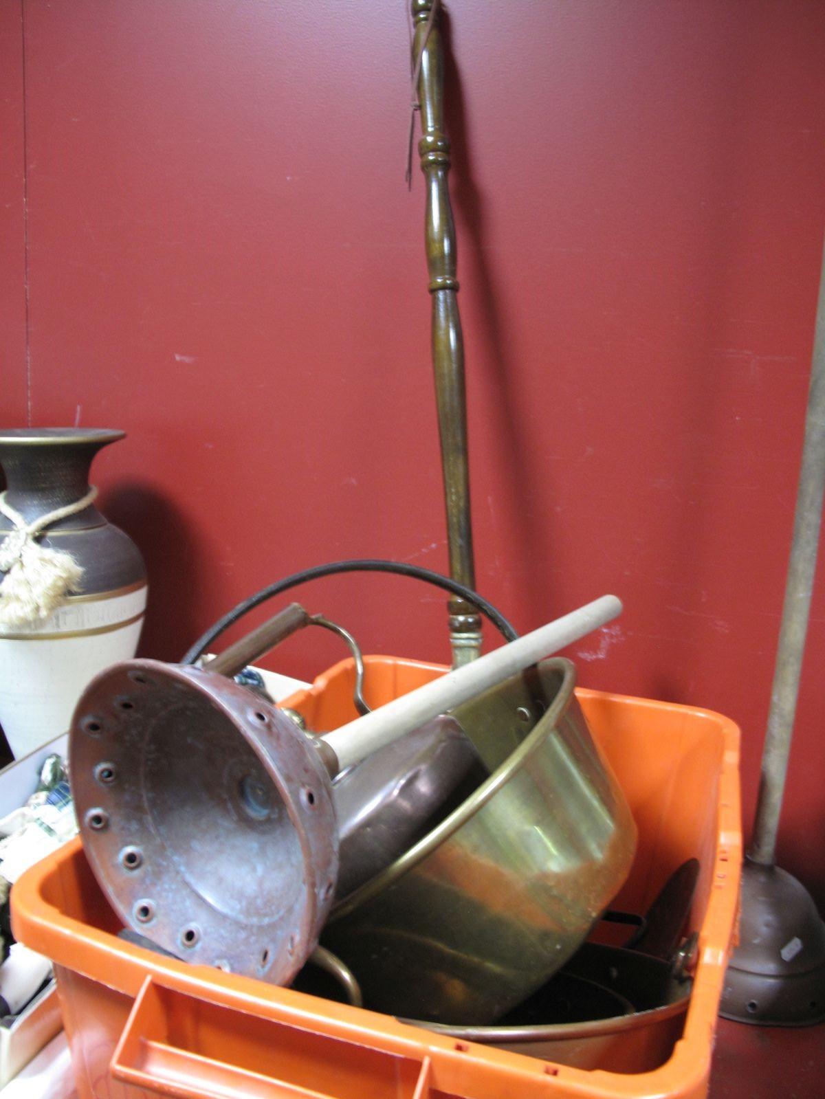 Lot 712 - A XIX Century Copper Kettle, brass jam pan, copper bowls, warming pan, etc.