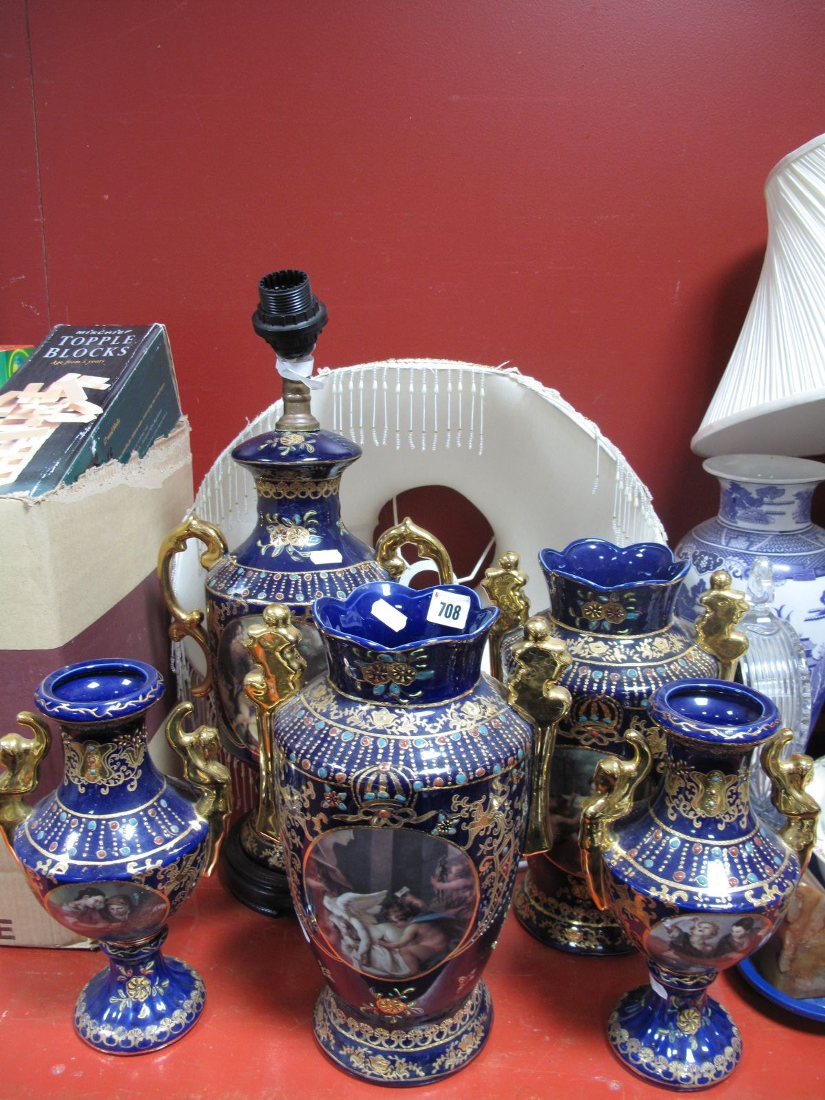 Lot 708 - A Chinese Pottery Lamp, in the XIX Century Sevres manner, two pairs of similar vases. (5)
