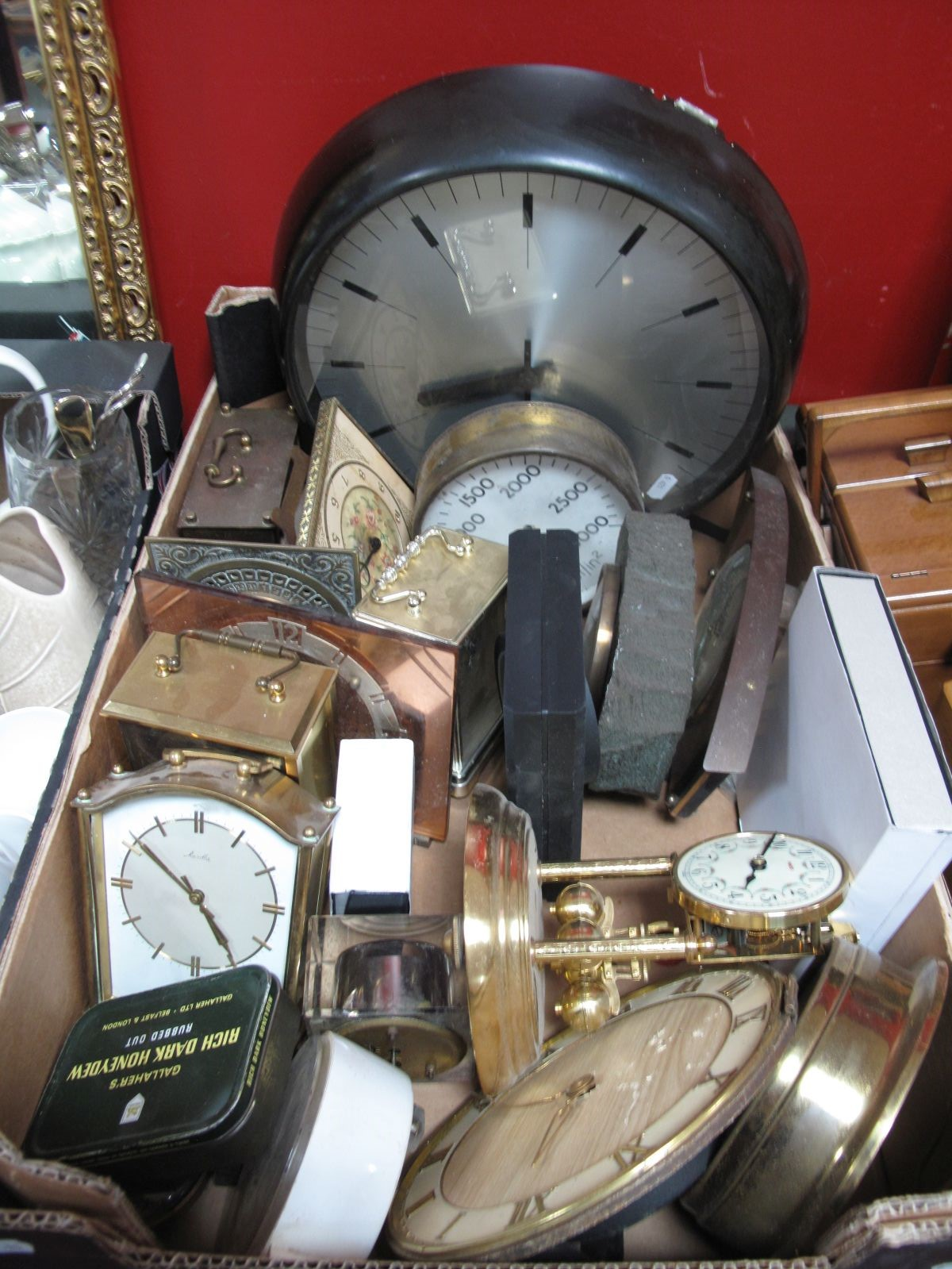 Lot 715 - A Gent of Leicester Slave Clock, Quartz mantel clocks, etc:- One Box