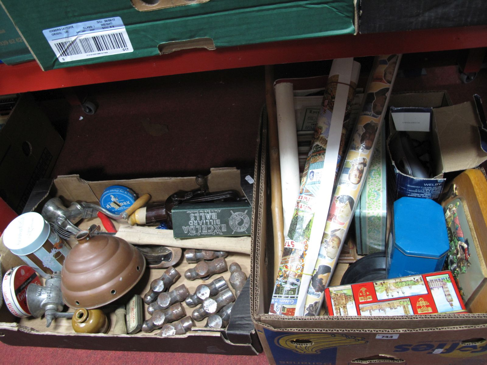 Lot 744 - Tools, books in book stand, tins, theatre programmes, records, etc:- Two Boxes
