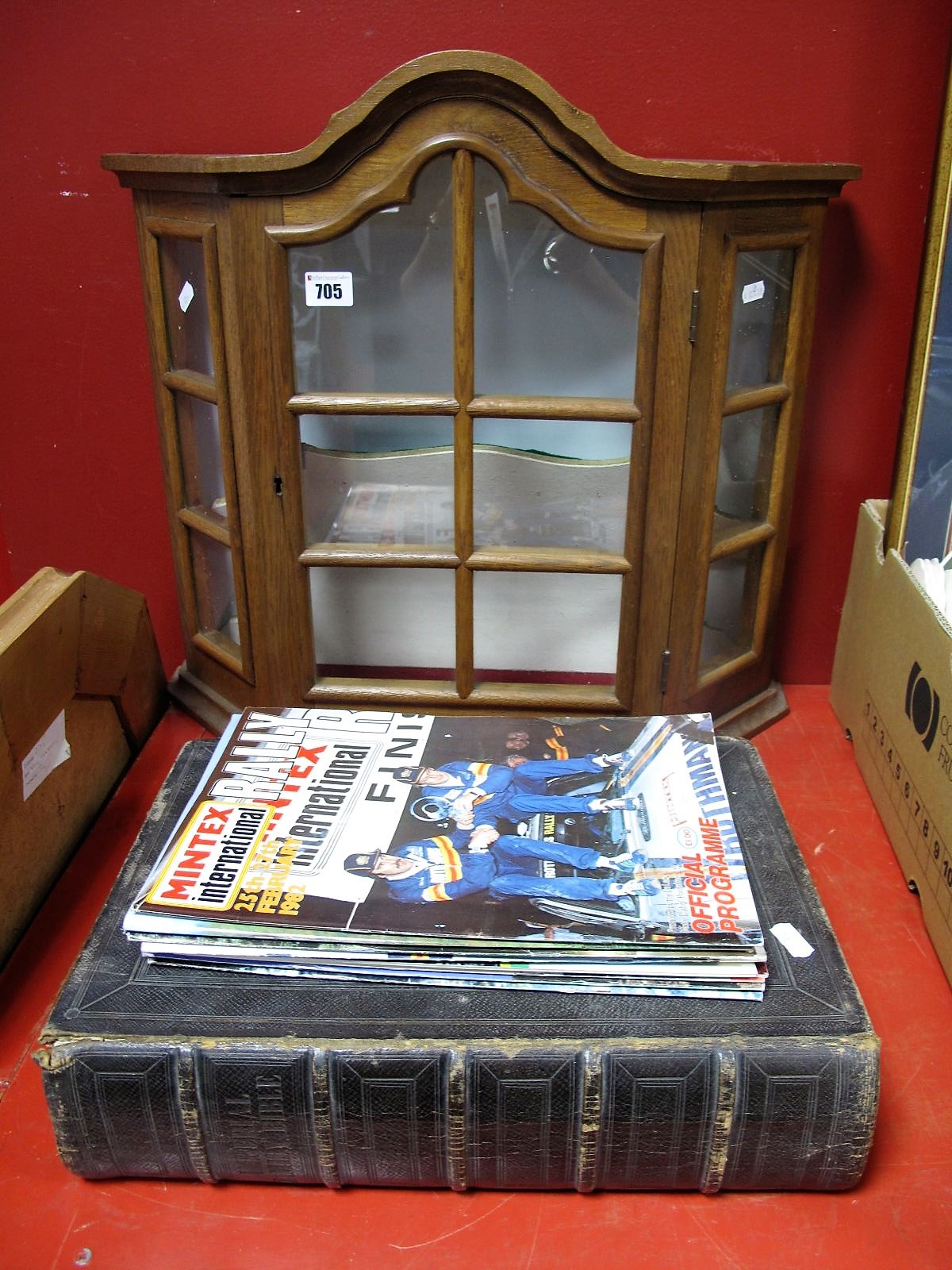 Lot 705 - A Small Table Display Cabinet, Imperial family bible 1848, nine rally programmes.