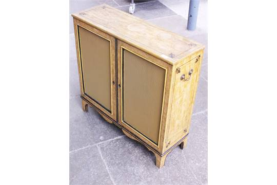 a grained pine small cabinet with brass carrying handles replaced back and grille w56cm h83cm
