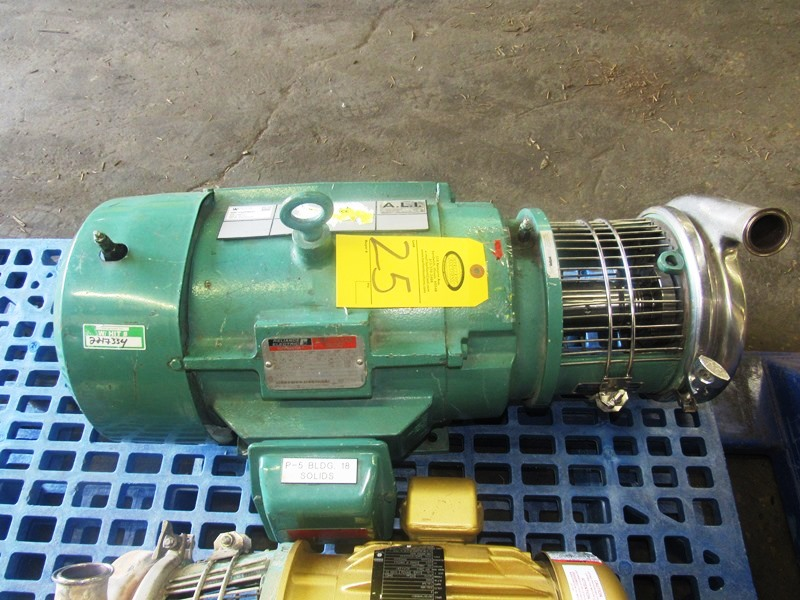 """Lot 25 - Tri-Clover Stainless Steel Centrifugal Pump 1 1/2"""" inlet, 2"""" outlet, on 15 h.p., 230/460 volt motor"""