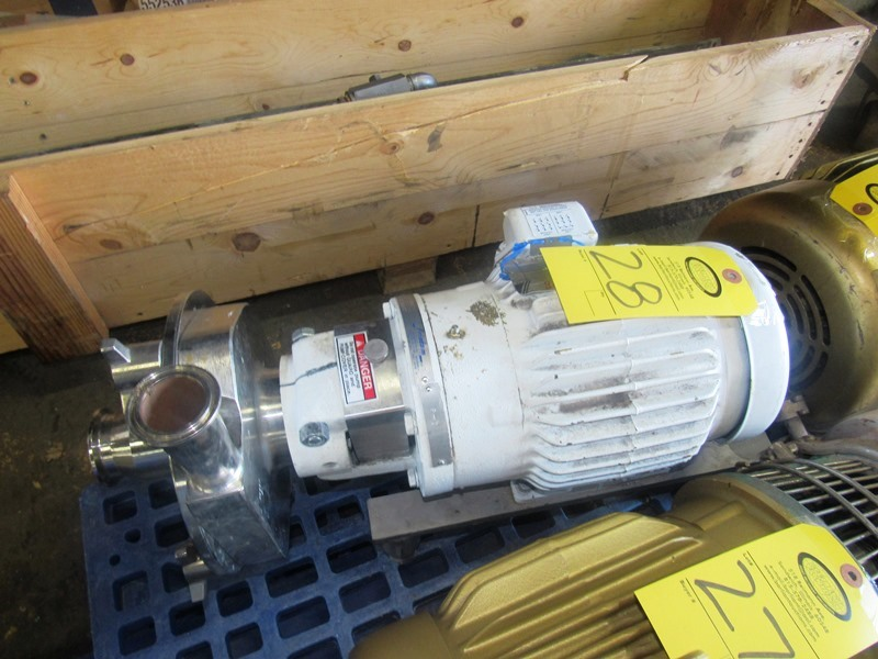"""Lot 28 - Fristam Stainless Steel Centrifugal Pump 1"""" inlet, 2"""" outlet, on 1 1/2 h.p., 230/460 volt motor"""