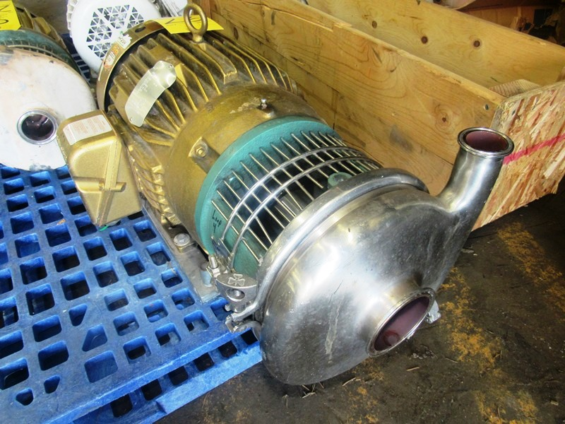 """Lot 26 - Tri-Clover Stainless Steel Centrifugal Pump 1 1/2"""" inlet, 2"""" outlet, on 10 h.p., 230/460 volt motor"""