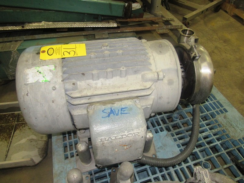 """Lot 31 - Tri Clover Stainless Steel Centrifugal Pump, 2 1/2"""" inlet, 4"""" outlet, on Baldor motor"""