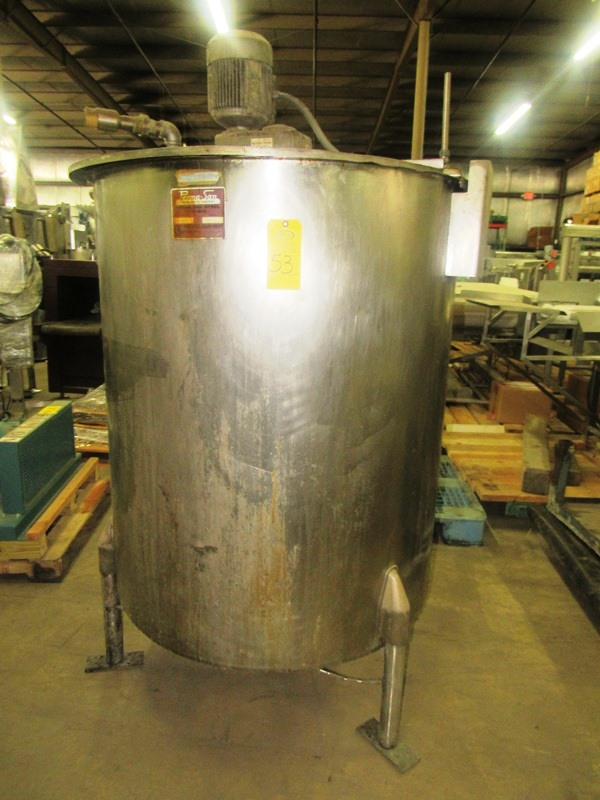 "Lot 53 - Perma-San Stainless Steel Single Wall Tank, 342 gallon, 48"" Dia. X 52"" D with top mounted snuggler"