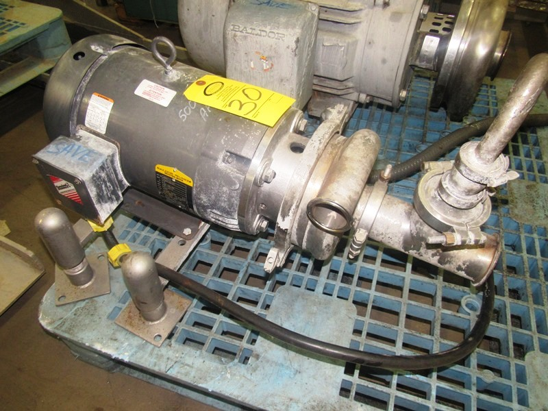 """Lot 30 - Tri Clover Stainless Steel Centrifugal Pump, 2"""" inlet, 3"""" outlet, on 10 h.p. wash-down motor, 230/"""