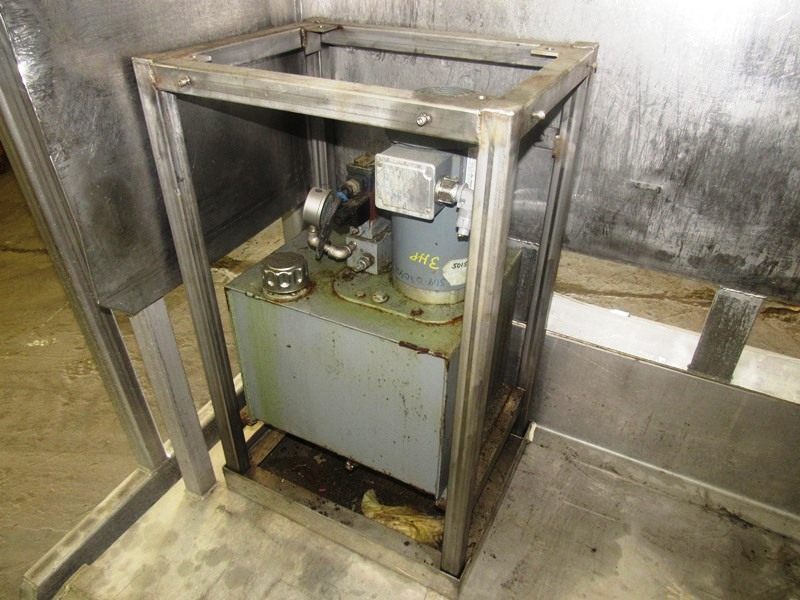 "Lot 44 - MTC Mdl. LET Stainless Steel Vat Dumper, 60"" W X 48"" D carriage, dual lift & pivot cylinders @"