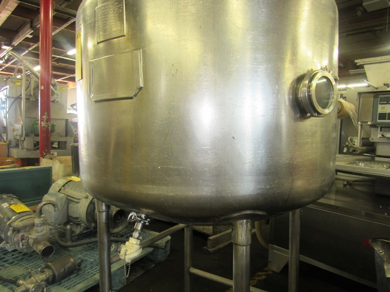 """Lot 54 - Stainless Steel Single Wall Tank, approx. 40"""" Dia. X 36"""" D. 20"""" Dia. top manhole (3) 1"""" dia. top"""