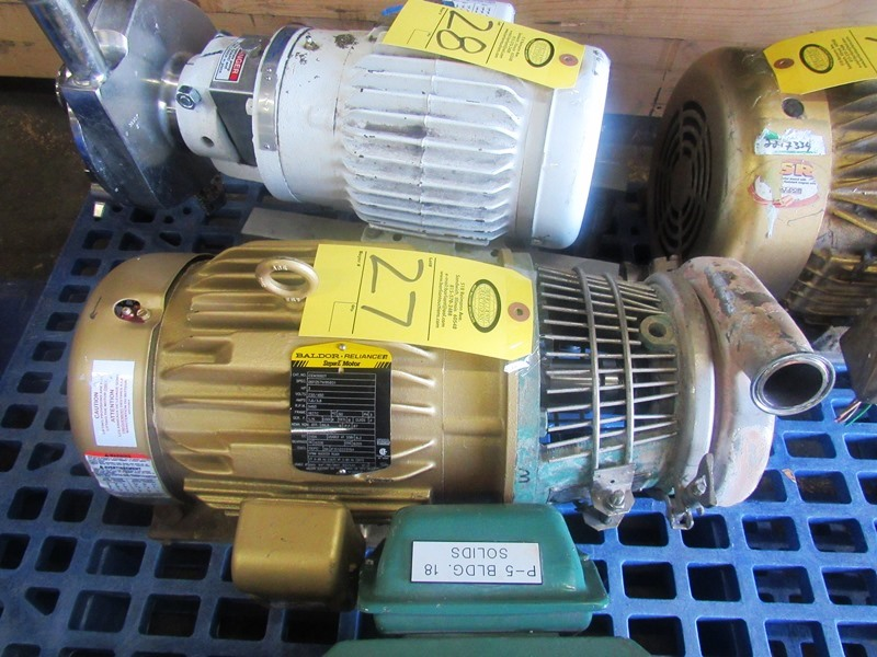 """Lot 27 - Tri-Clover Stainless Steel Centrifugal Pump 1 1/2"""" inlet, 2"""" outlet, on 3 h.p., 230/460 volt motor"""