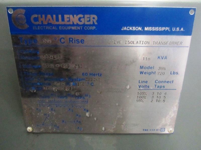 Lot 12 - Challenger Mdl. 3BN Drive Isolation Transformer C-Rise Type 150º, KVA 118, Cat. #123LP3, voltage