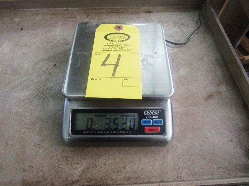 "Lot 4 - Doran Mdl. PC400 Digital Scale, 6 1/2"" W X 6 1/2"" L stainless steel top (lights up)"