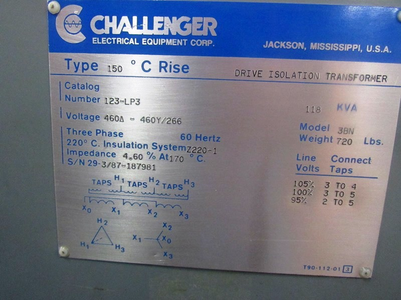 Lot 9 - Challenger Mdl. 3BN Drive Isolation Transformer C-Rise Type 150º, KVA 118, Cat. #123LP3, voltage