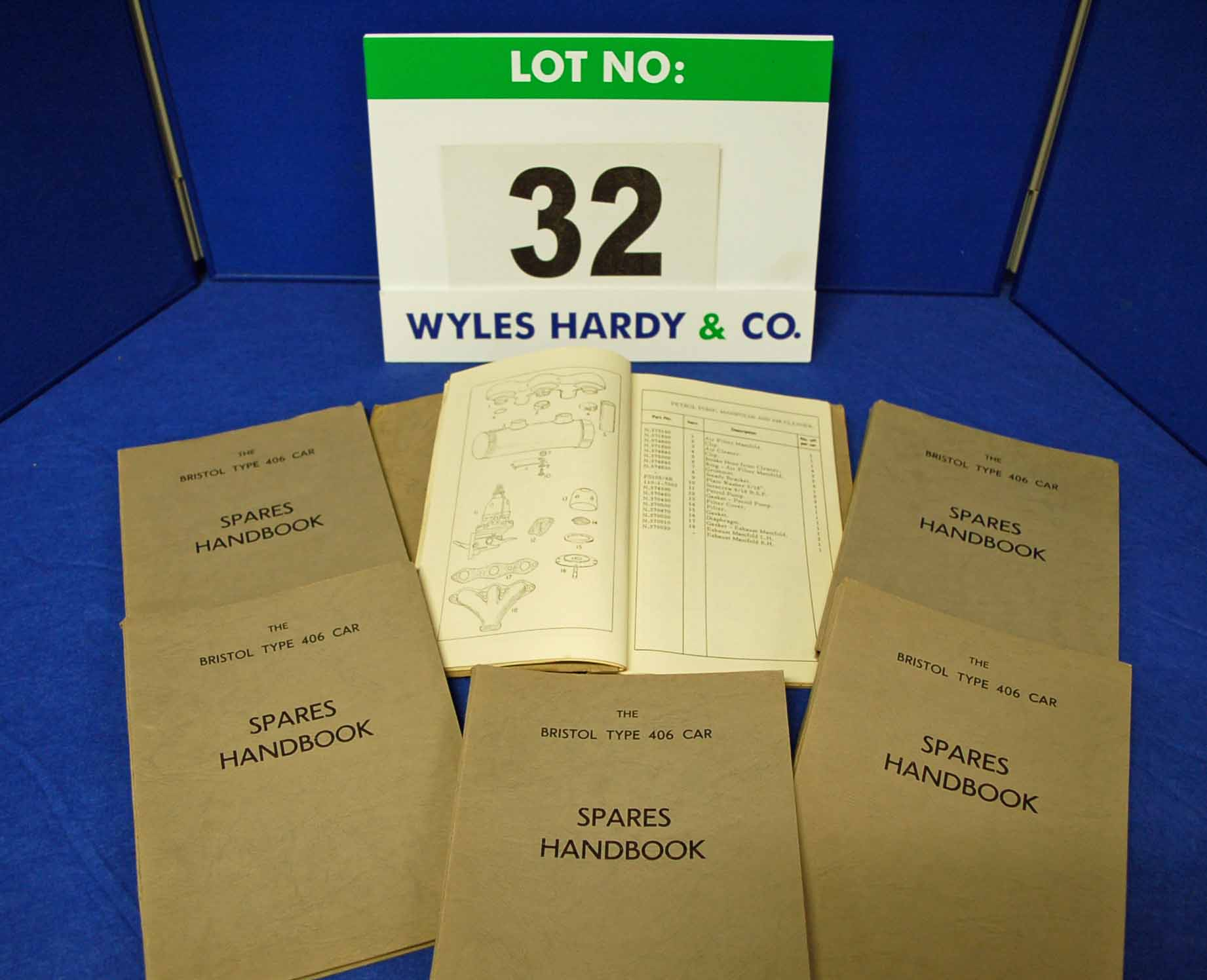 Six Copies of the Spares Handbook for The Bristol Type 406 Car