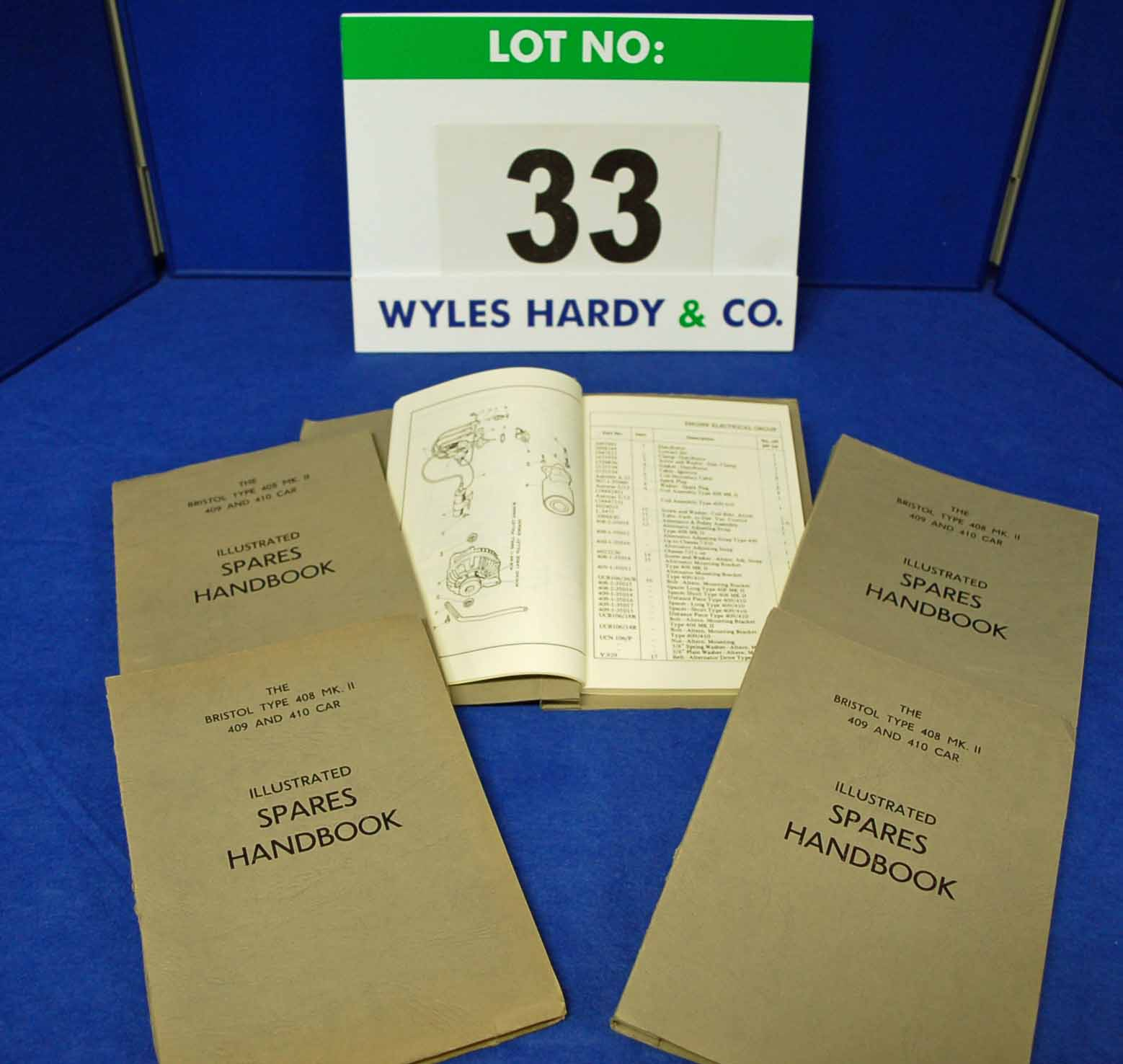Five Copies of the Spares Handbook for The Bristol Type 408 Mk II, 409 and 410 Car