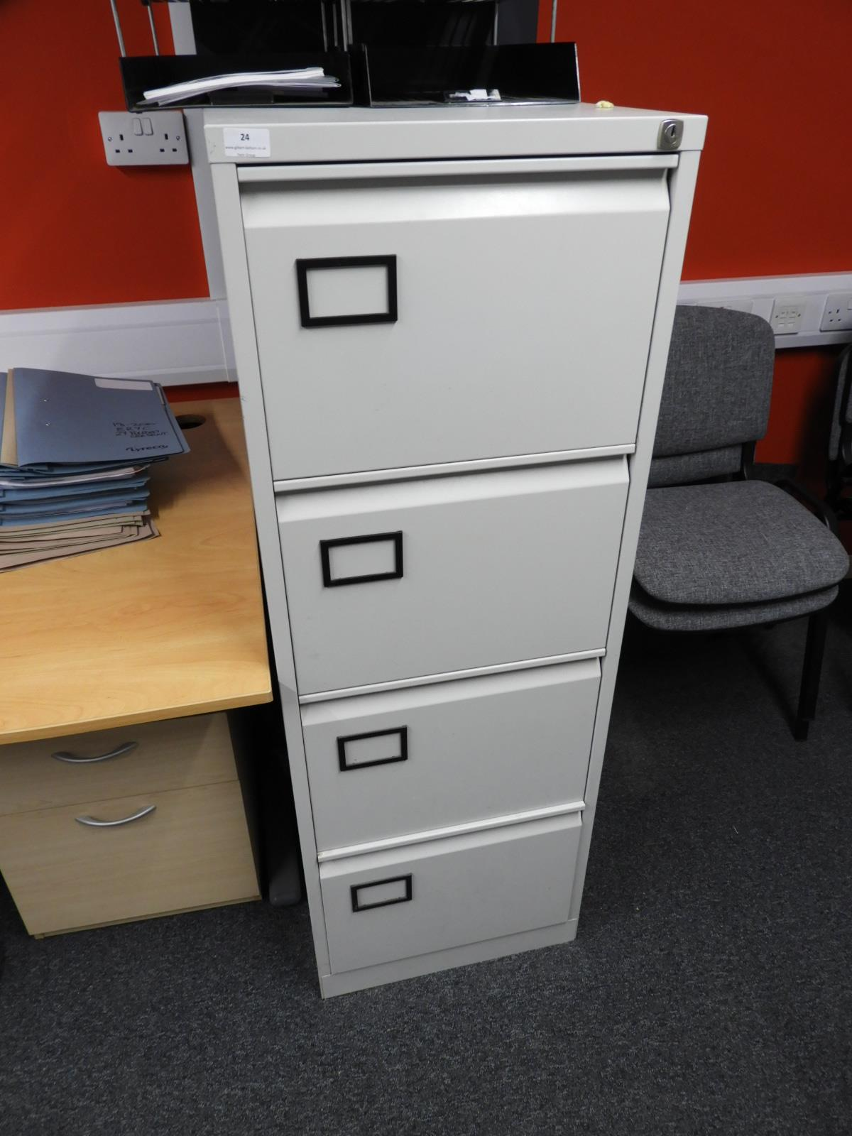 Lot 24 - *Four Drawer Foolscap Filing Cabinet (Grey)