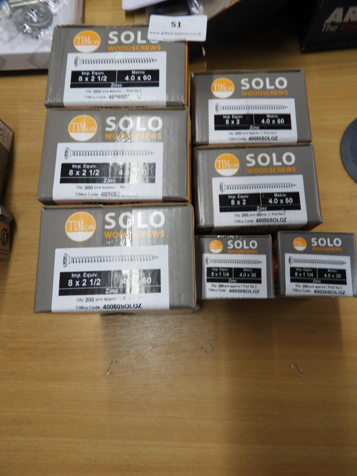 Lot 51 - *Seven Boxes of Solo Countersunk Wood Screws (Vari