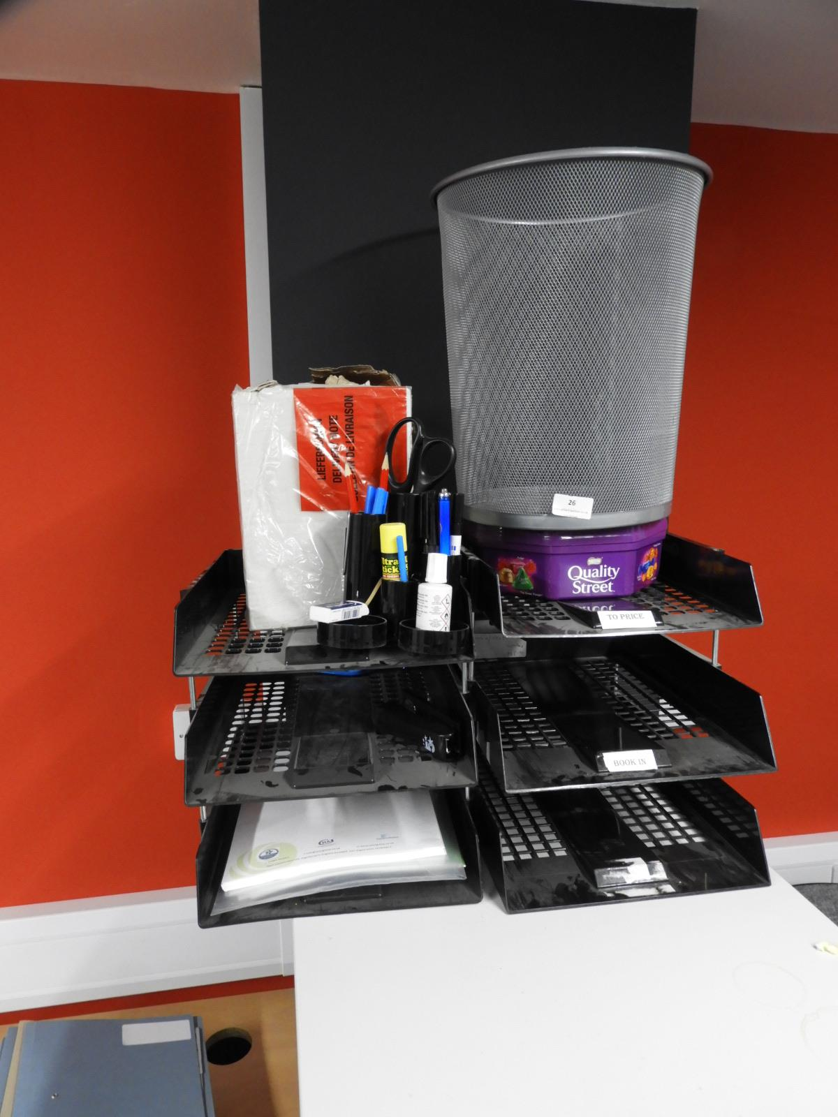 Lot 26 - *Assorted Filing Trays and Office Sundries, Low En