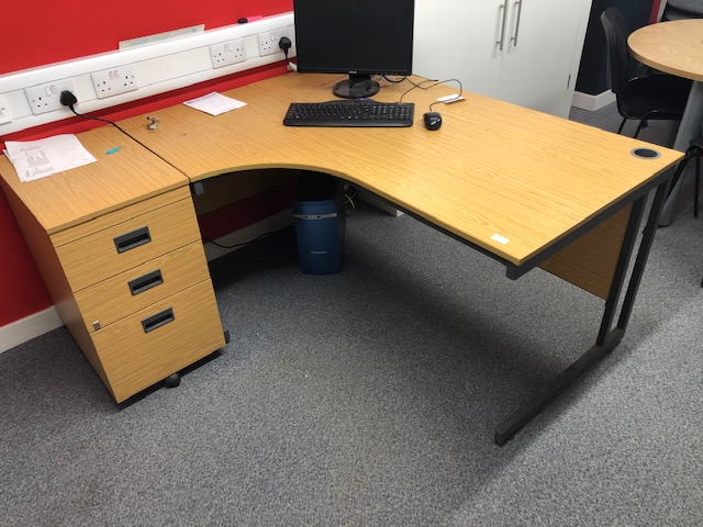 Lot 19 - *L-Shape Desk with Left Hand Return and Three Draw