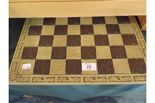 A Resin Chess Board Decorated with Eagles and Oak Leaves to Border