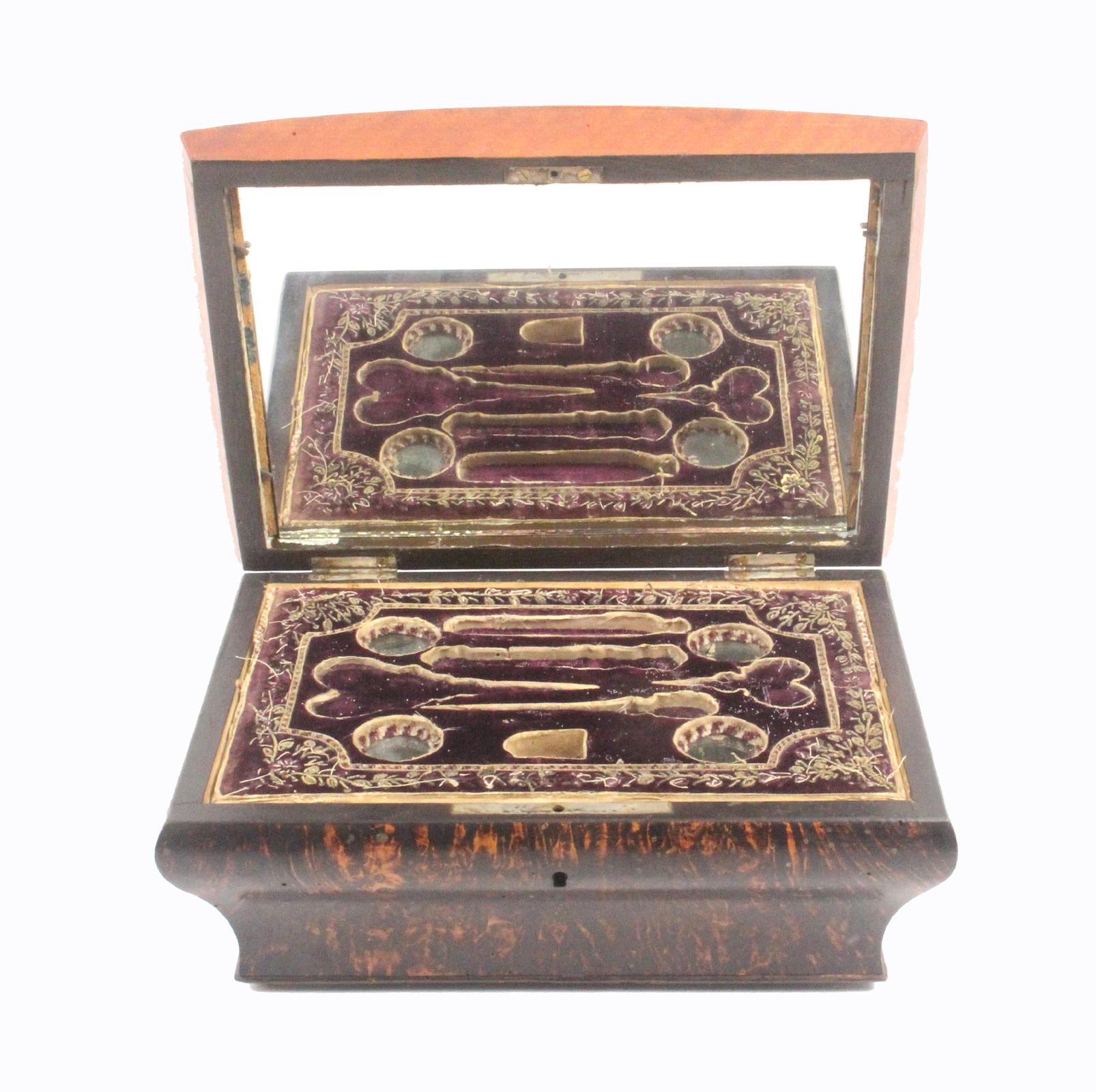 A Palais Royal Burr Ash Sewing Box, Circa 1820, The Bombe