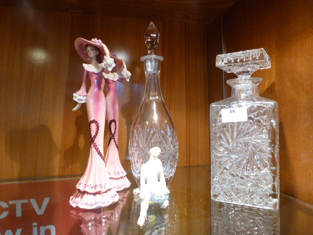 Lot 34 - Two Glass Decanter, Pair Figurines, etc.