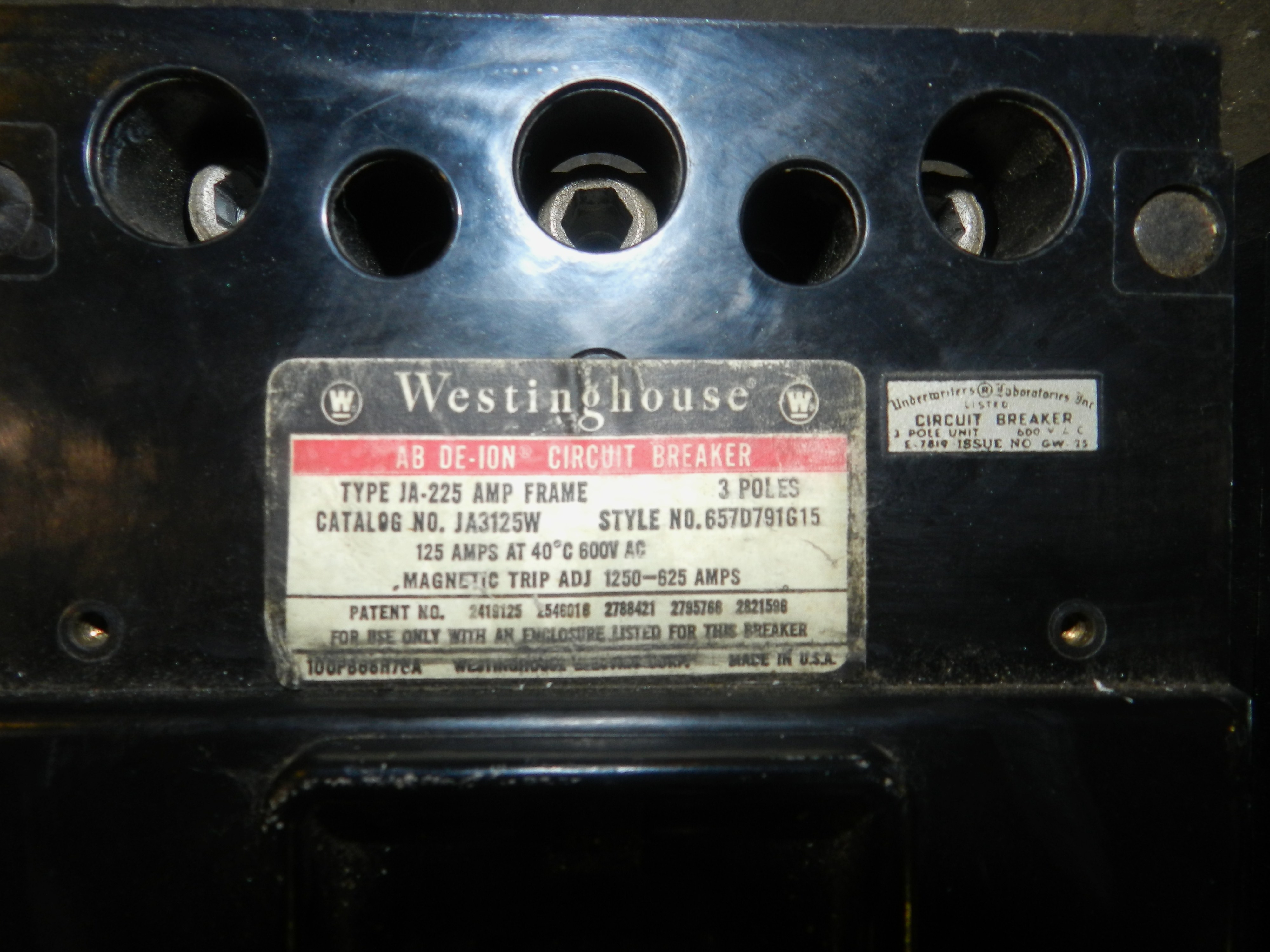 Lot 86 - Lot of 2 - Westinghouse JA3125W 125 Amp 3 Pole 600V Circuit Breaker