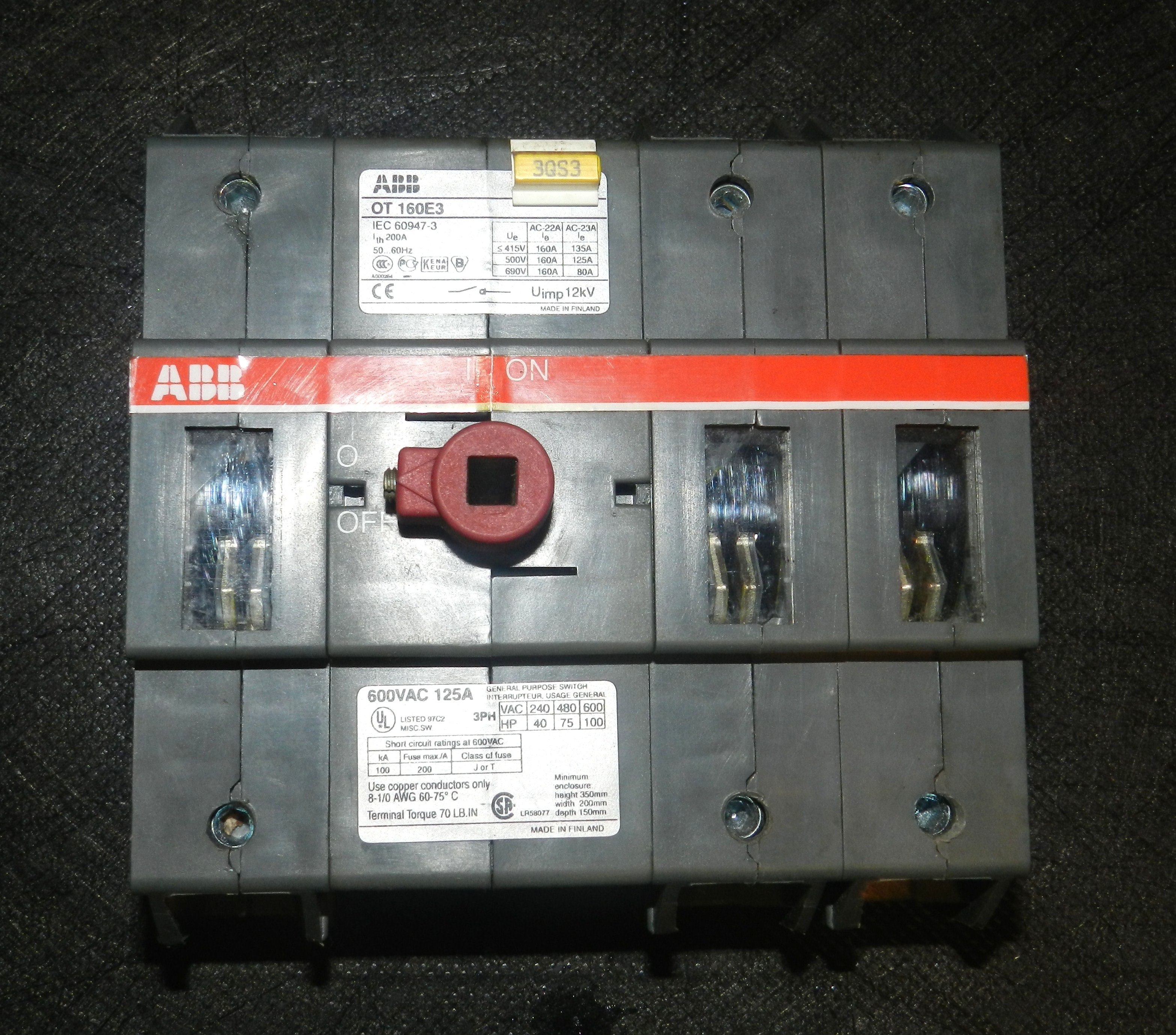 Lot 85 - ABB OT 160E3 125A 600V 3PH Disconnect Switch