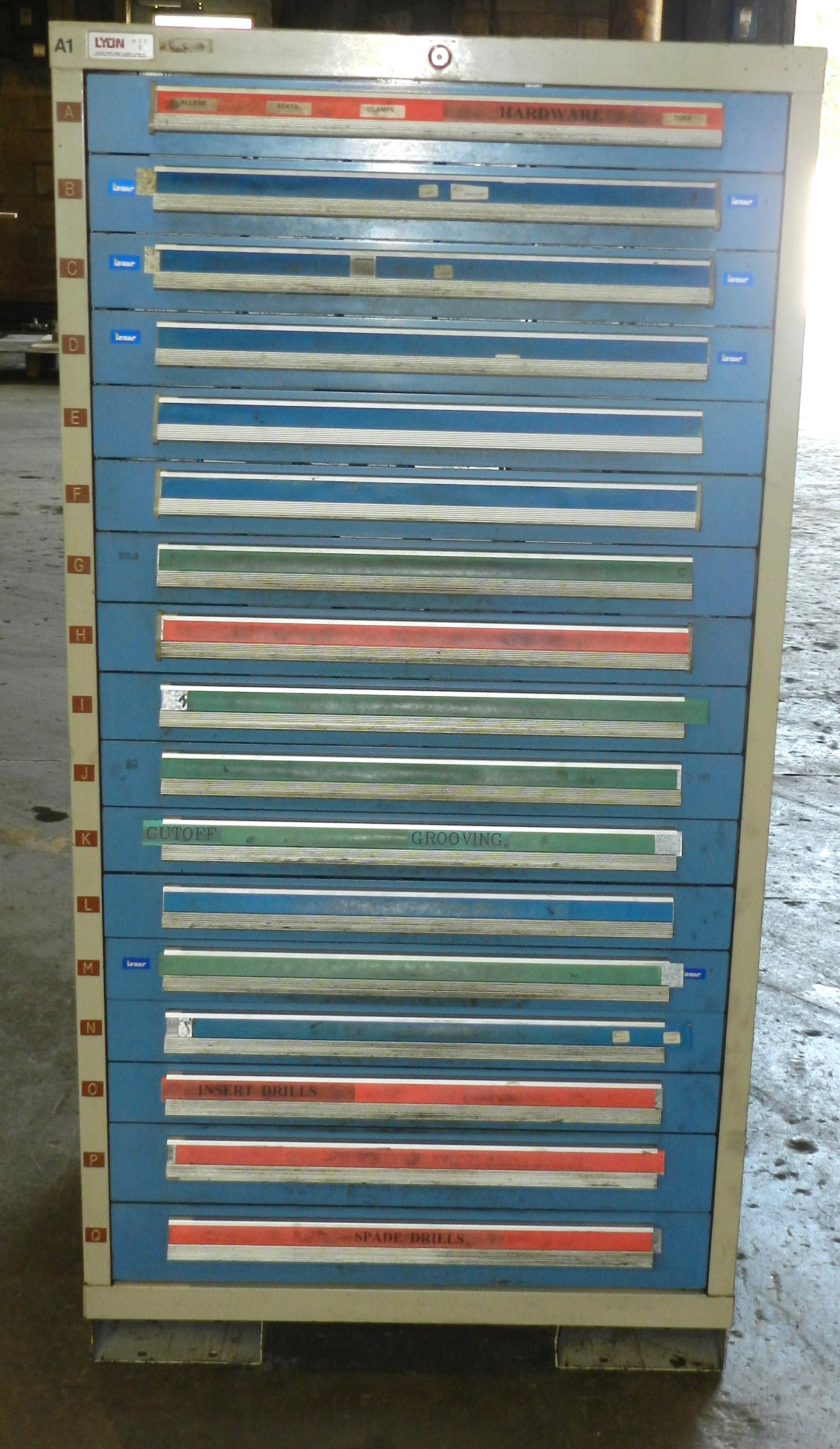 "Lot 76 - Lyon 17 Drawer Vidmar Industrial Cabinet 30"" x 27.5"" x 59"""