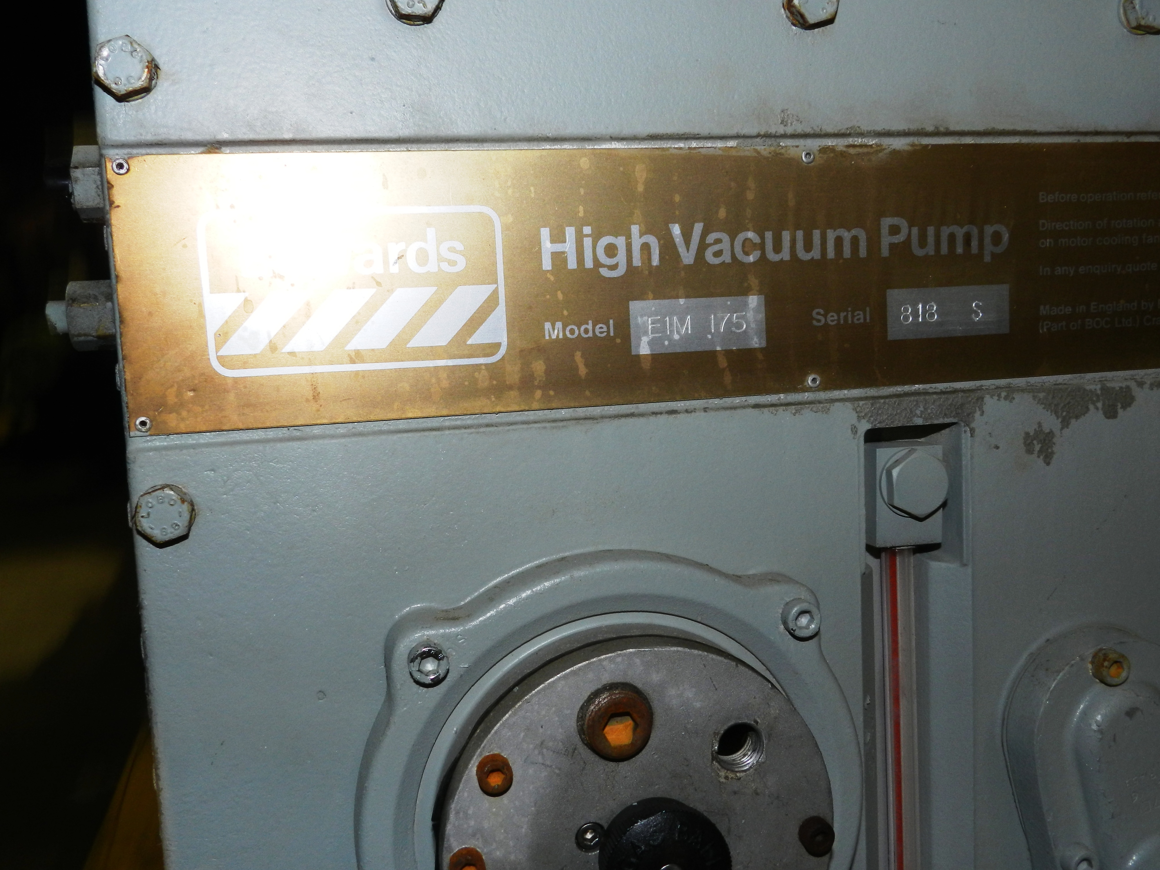 Lot 91 - Edwards 175 E1M175 Rotary Vane Dual Stage Mechanical Vacuum Pump