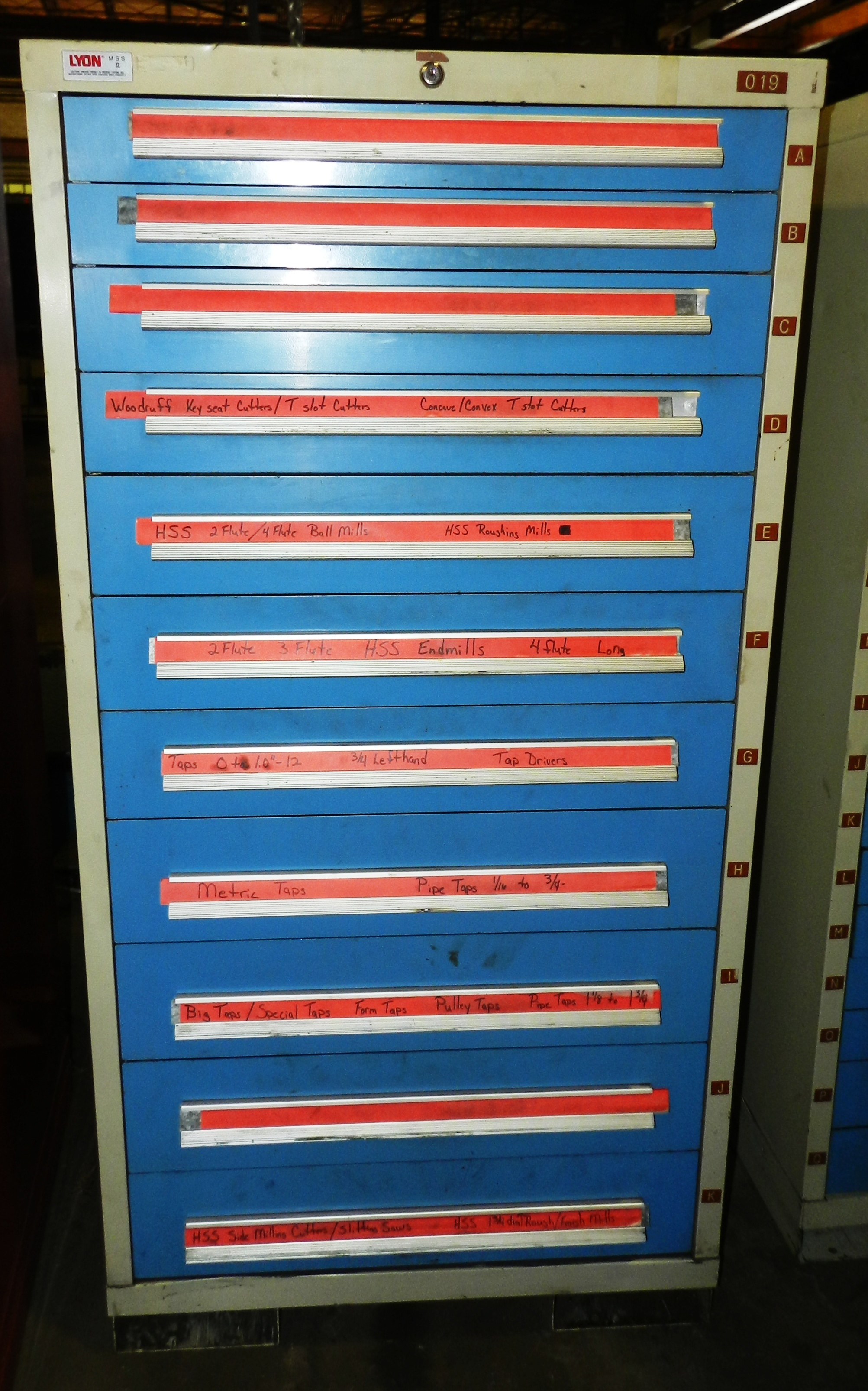 "Lot 75 - Lyon 11 Drawer Vidmar Industrial Cabinet 30"" x 27.5"" x 59"""