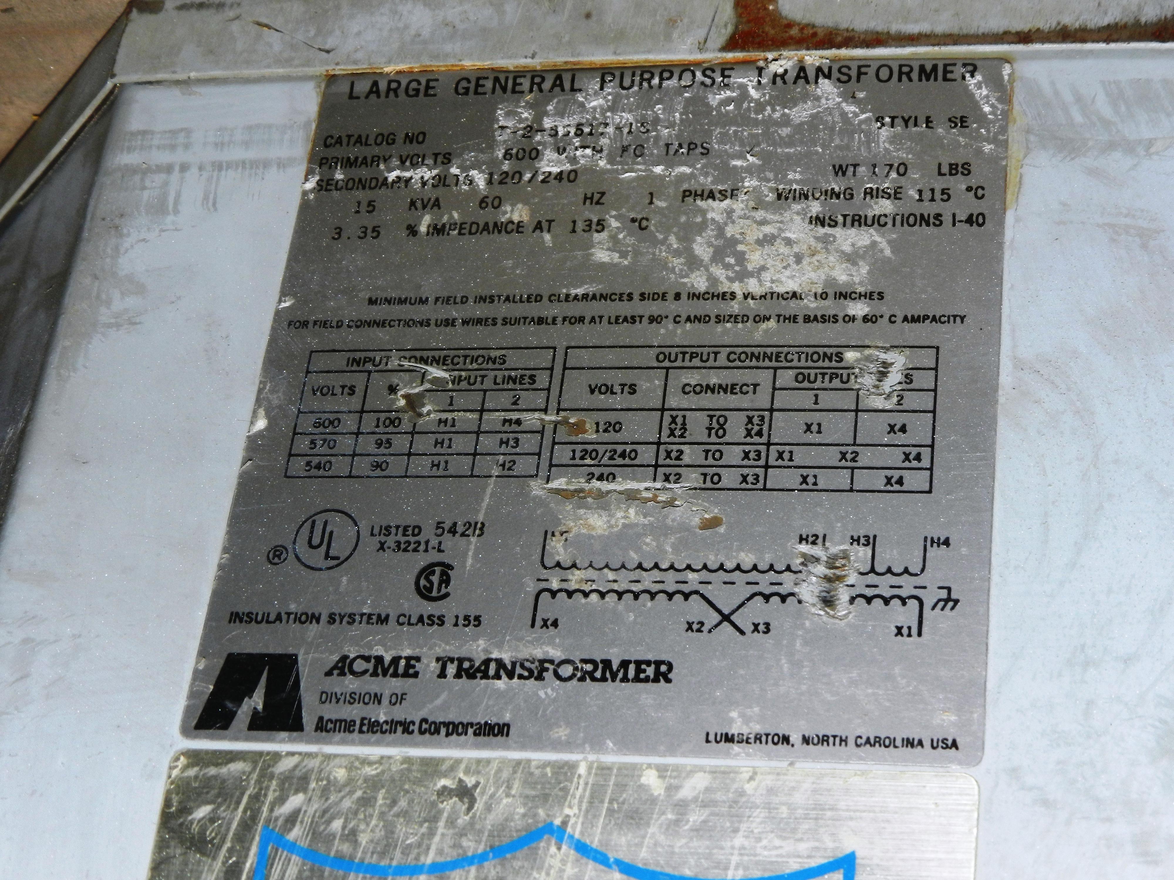 Lot 38 - Acme 15 KVA 1 Phase Transformer T-2-53617-1S