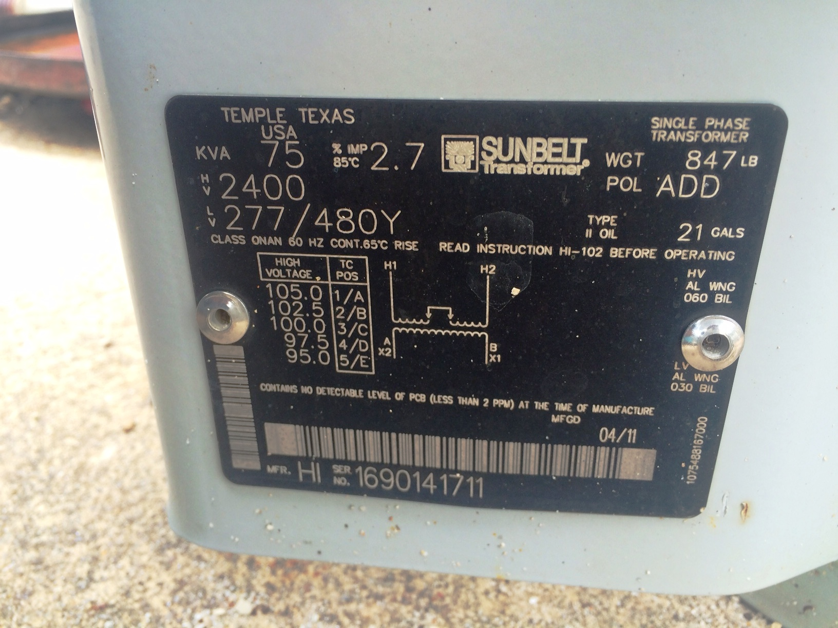 Lot 82 - Sunbelt 75 KVA Pole Mount Transformer 1 PH 2400 Volt