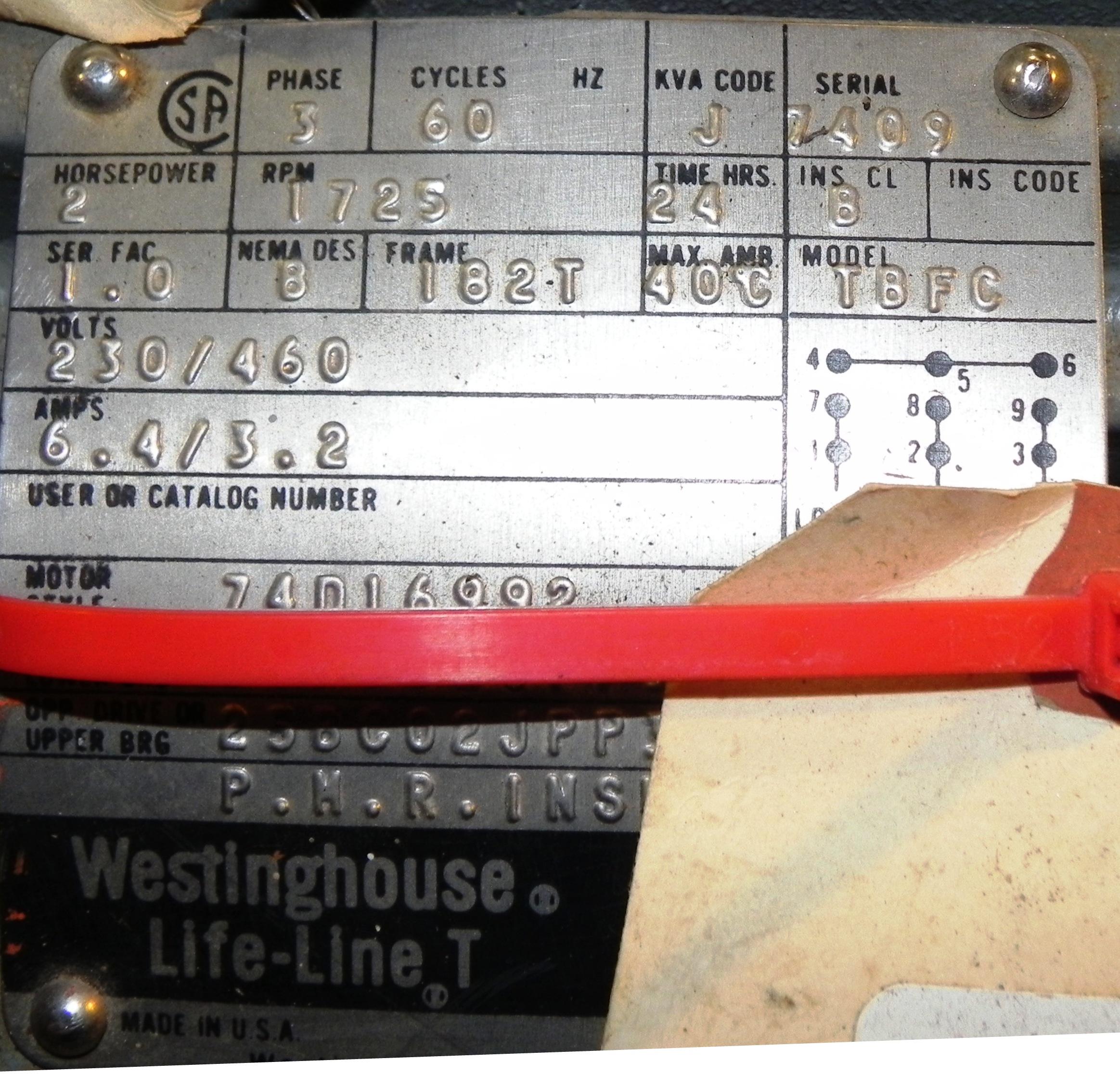 Lot 9 - Westinghouse 2 HP Life-Line T 1725 RPM Motor TBFC