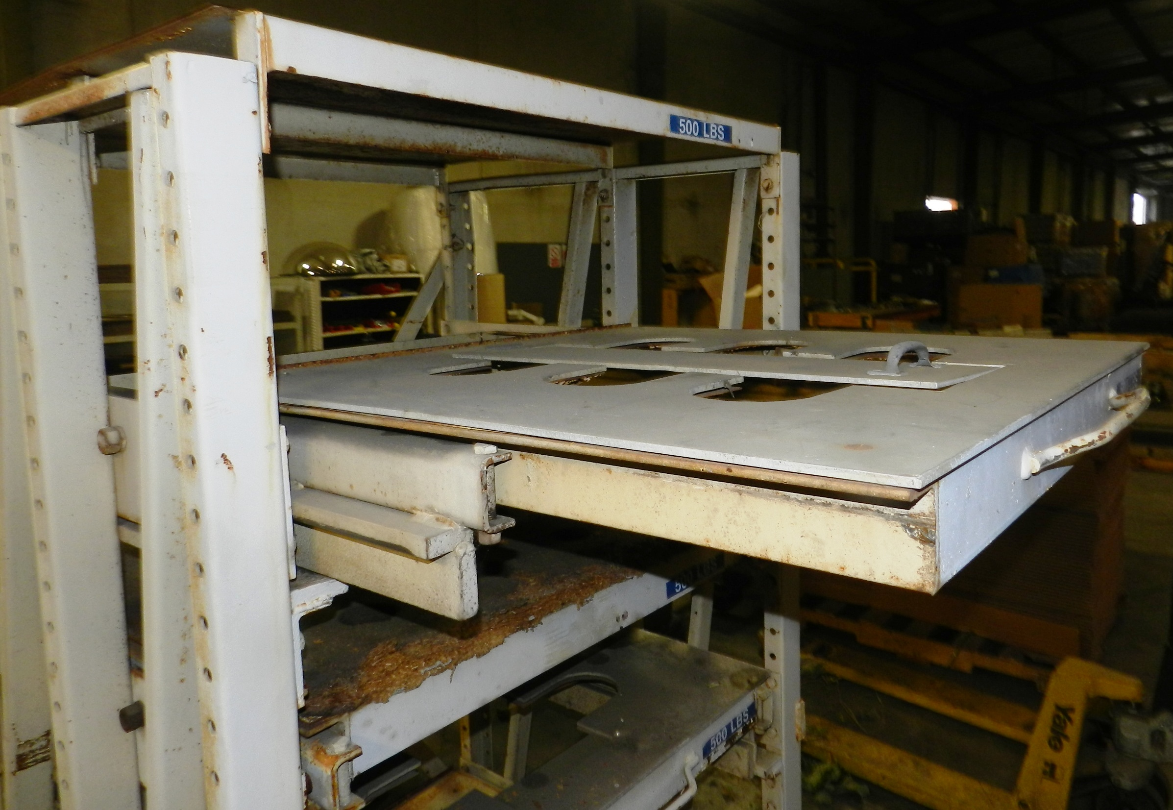 Lot 77 - Heavy Duty Roll Out Die Shelf 3'x 3'