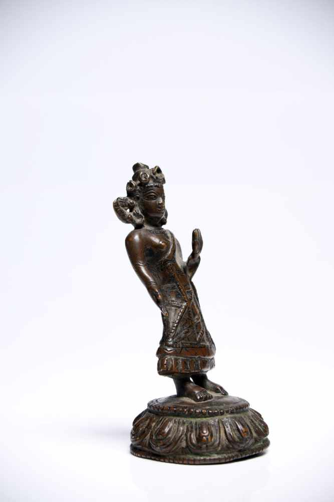 Lot 36 - Buddha DipankaraBronzeTibet16th ctH: 11 cmThe Buddha of the past. His right hand shows the vitarka