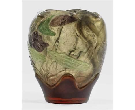 Bedeutende Marqueterie-Vase mit geschnittenem  Bedeutende Marqueterie-Vase mit geschnittenem    Bedeutende Marqueterie-Vase
