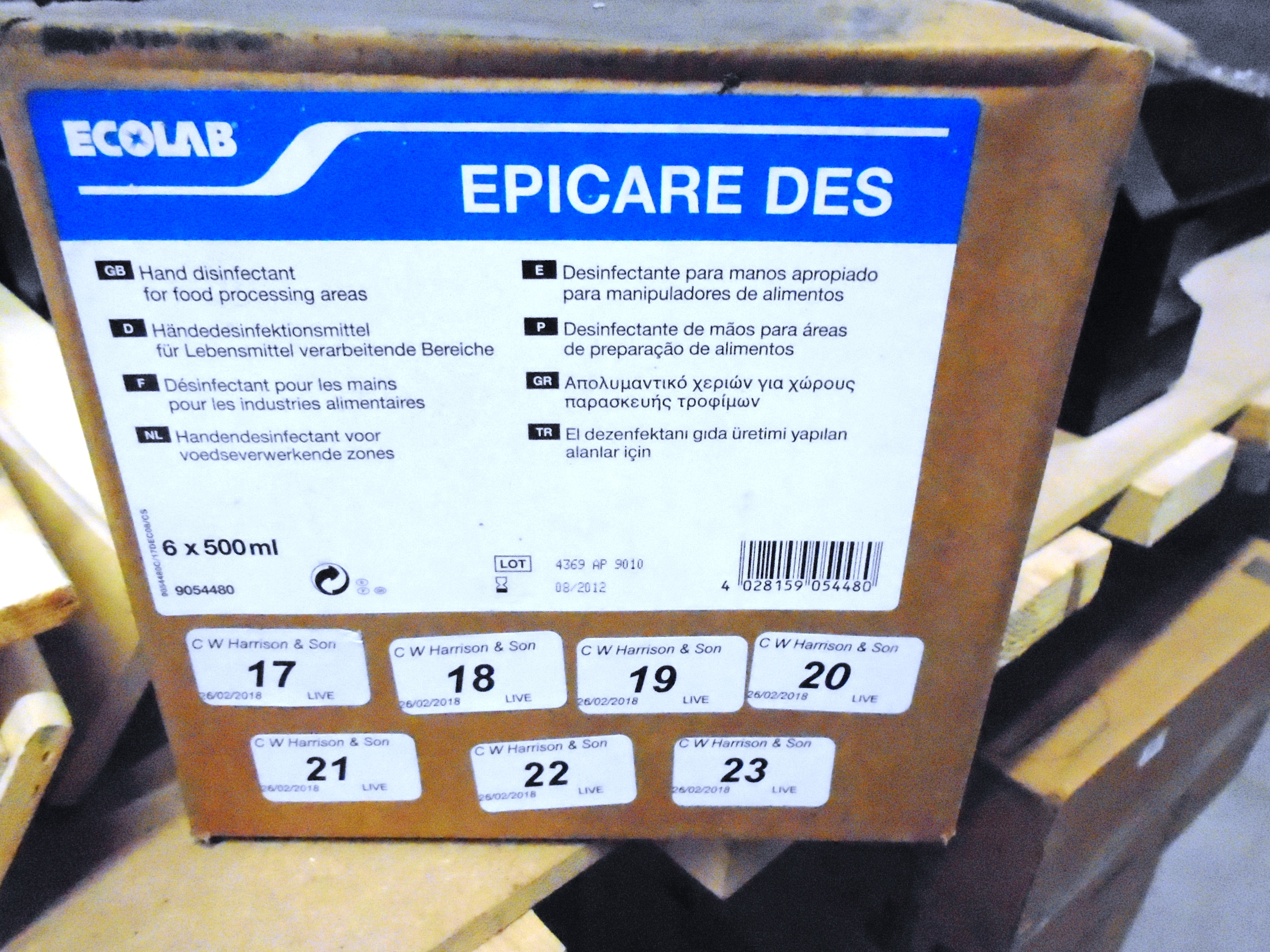 Lot 23 - 240 x Ecolab hand disinfectant for food processing areas (40 x outer boxes)